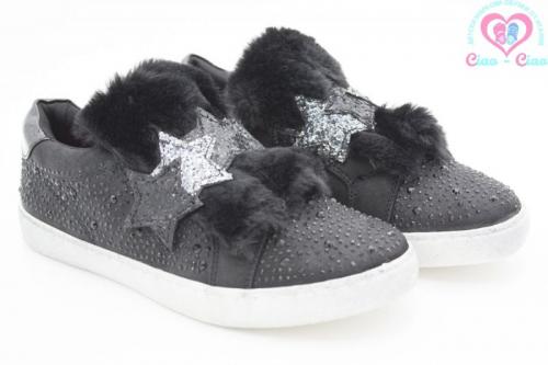 Детски обувки за момиче LULU с декорация от еко кожа, звезди от пайети и камъчета