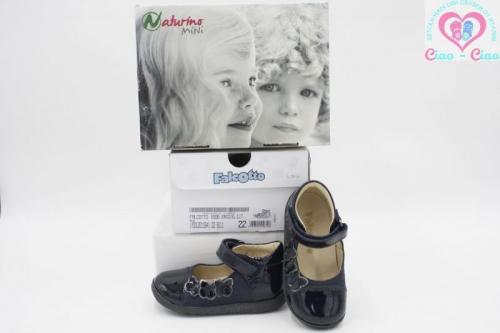 Детски обуви за момиче FALCOTTO by NATURINO от тъмно синя естесвена кожа с велкро и декорация Пеперуди