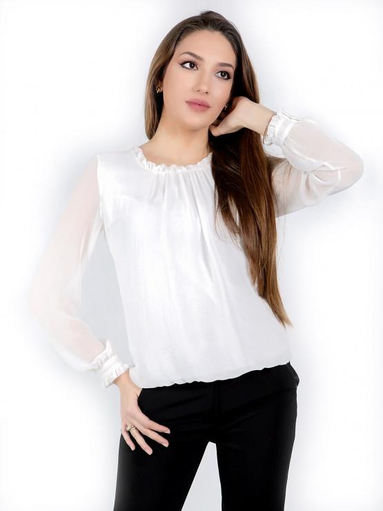 Дамска блуза с дълъг ръкав Азалея шифон в бяло