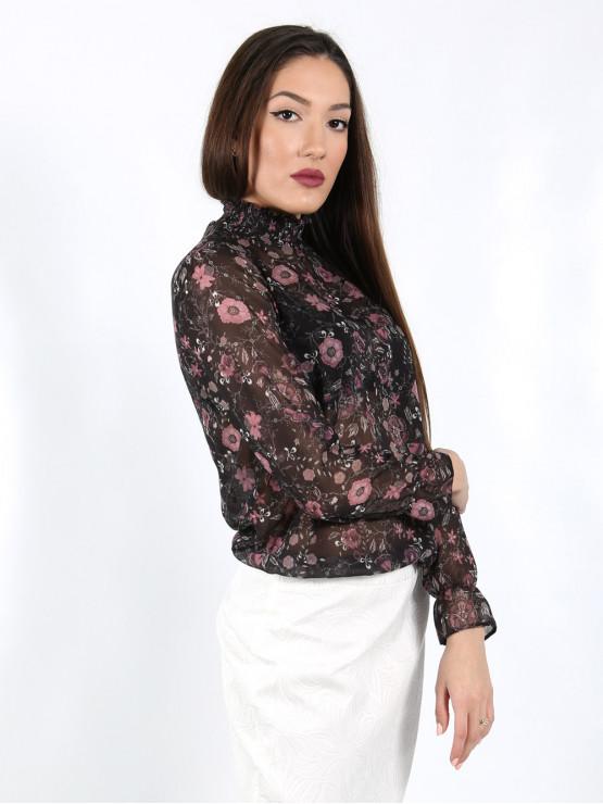 Дамска блуза с дълъг ръкав и ластик в кръста