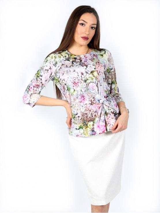 Класическа бяла права пола с втъкани цветя