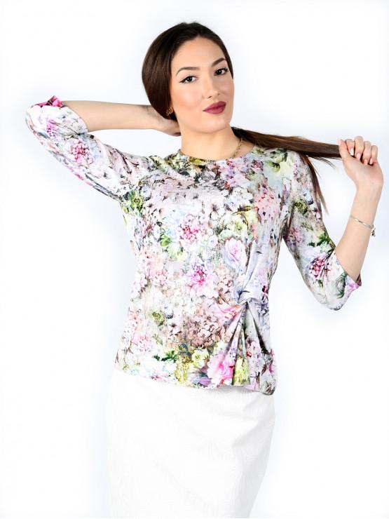 Блуза с ръкав 7/8 и ефектен възел