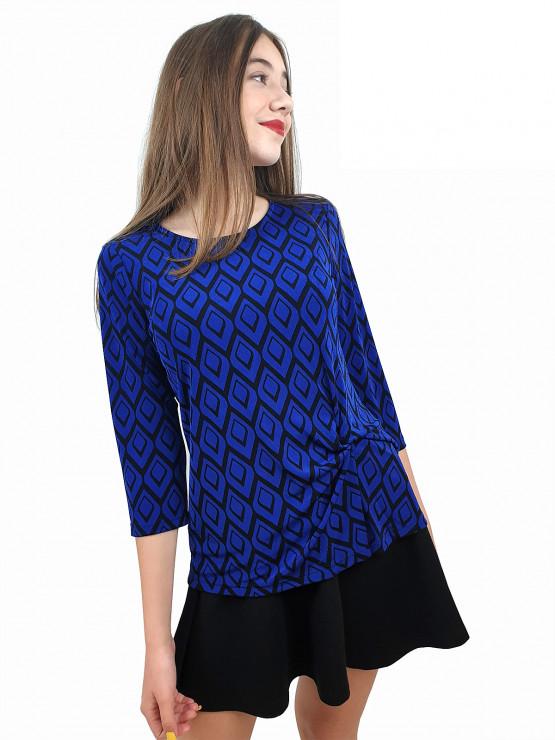 Дамска блуза с ръкав 7/8 и ефектен възел в синьо и черно