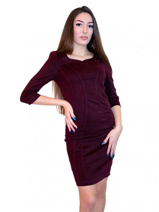 Дамска рокля от велур в цвят вишнев махагон