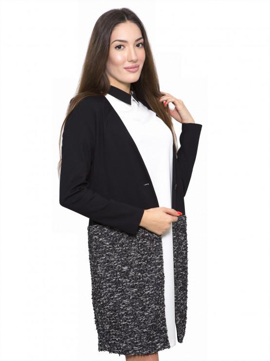 Черно дамско манто с ефектна долна част от букле