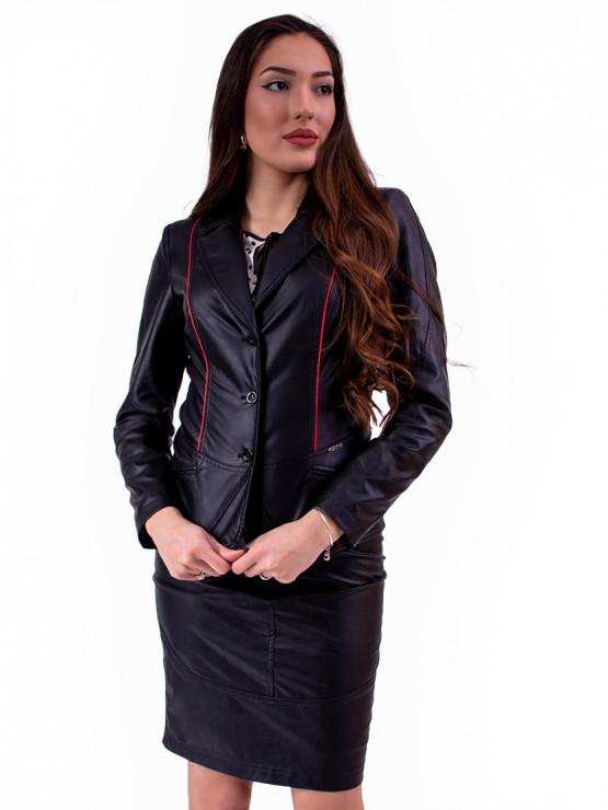 Черно дамско сако от еко кожа
