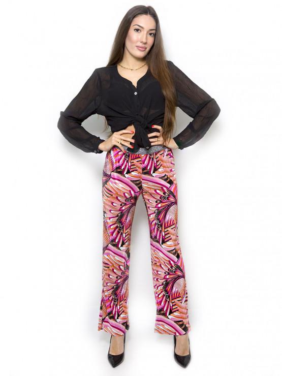 Цветен дамски панталон с ластик