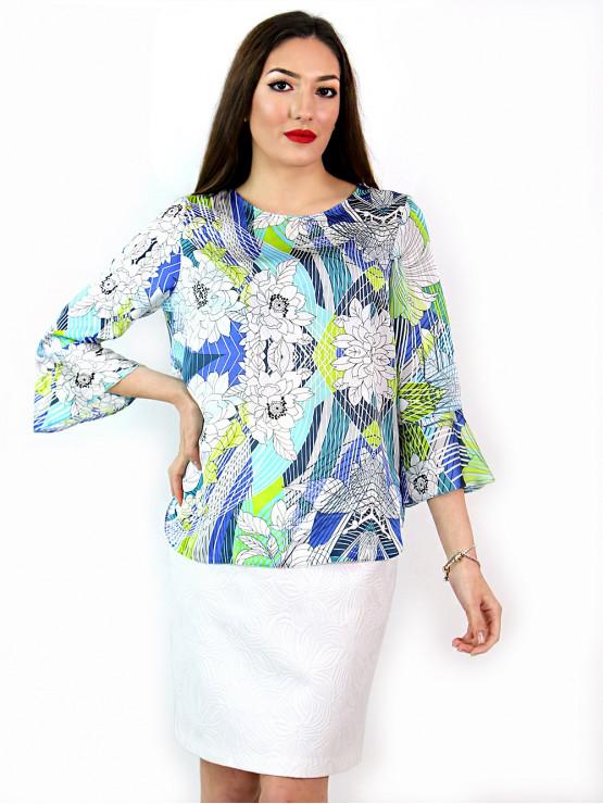 Официална блуза с ръкав 7/8 и геометрични шарки