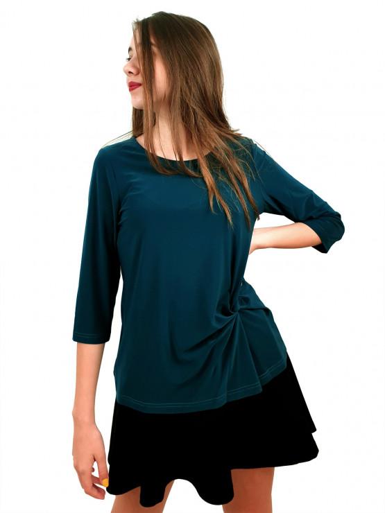 Дамска блуза с ръкав 7/8 и ефектен възел в различни цветове