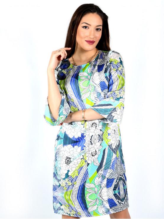 Дамска рокля с ръкав 7/8 и принт с геометрични шарки и цветя