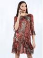 Дамска рокля с ръкав 7/8 и животинска шарка