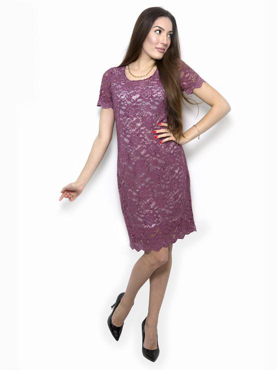 Дамска дантелена рокля в цвят къпина