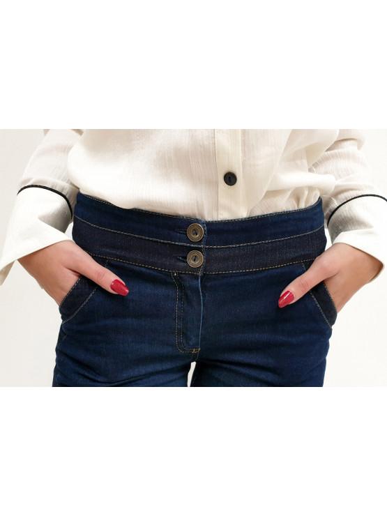 Дамски дънков панталон Деним с точки