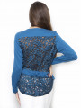 Електриково син жакет с ефектен дантелен гръб