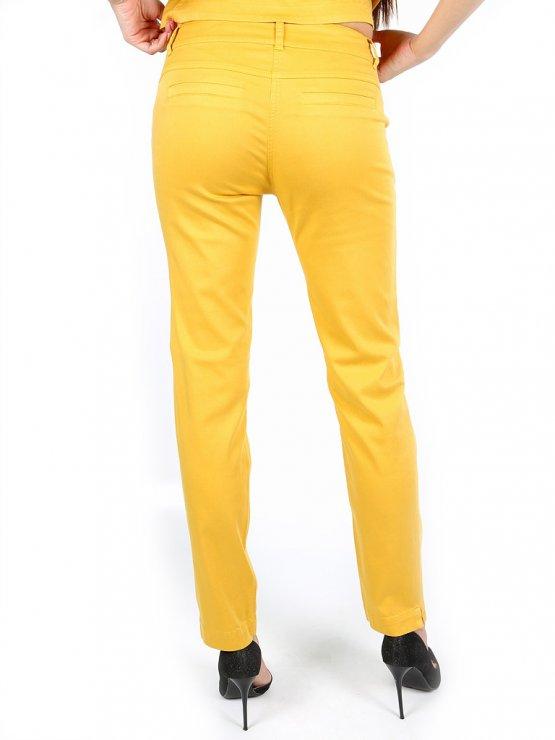 Жълт дамски панталон от тенсел