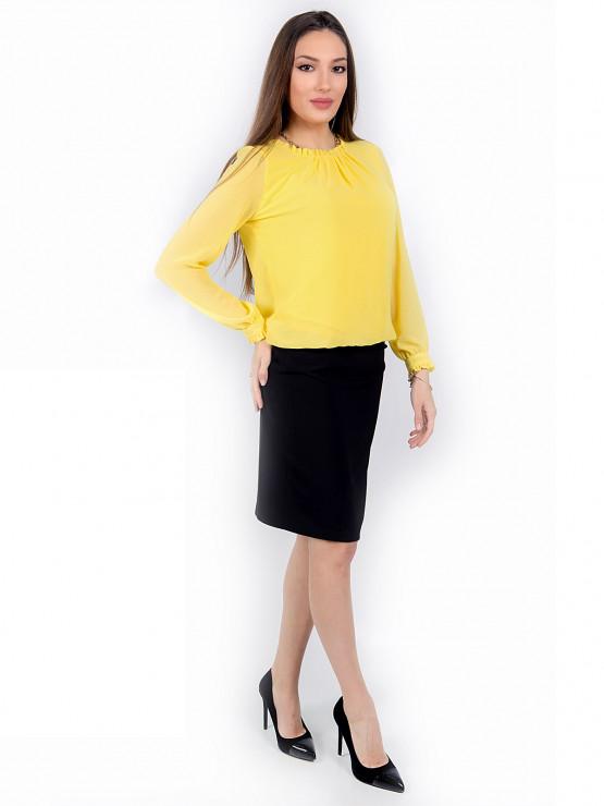 Дамска блуза с дълъг ръкав Азалея шифон в жълто