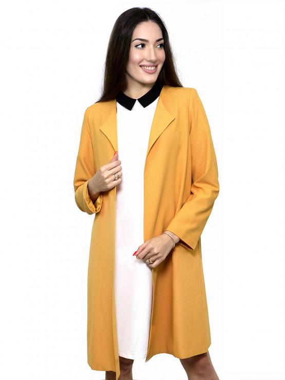 Дамско манто в цвят горчица