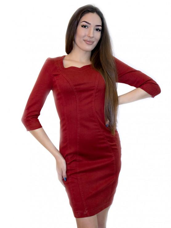 Керемидена дамска рокля от велур