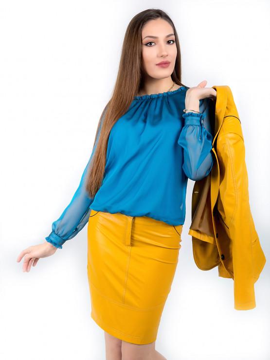 Блуза Клойзон от органза в цвят тюркоаз