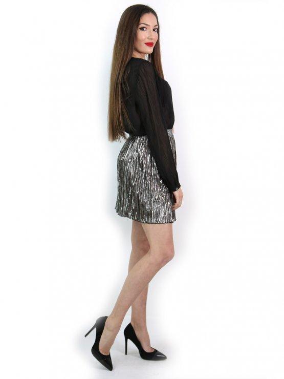 Къса пола от ефектен плисиран лъскав плат - цвят титан