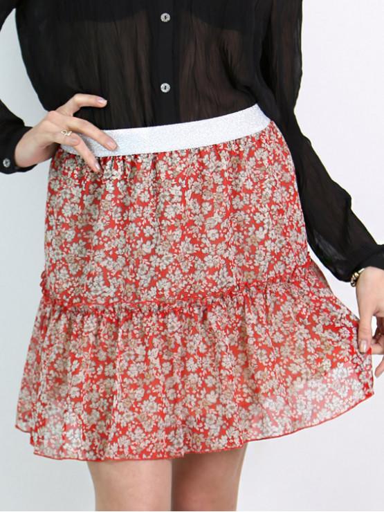 Къса пола с волан на цветя в червено