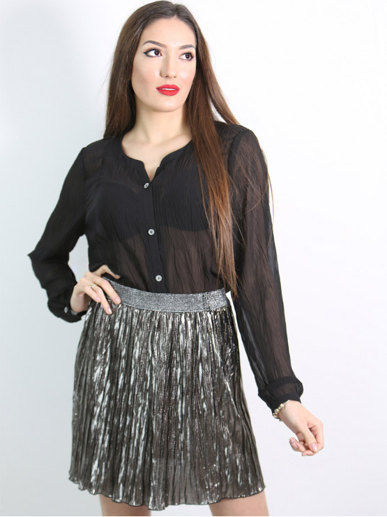 Дамска черна риза с дълъг ръкав