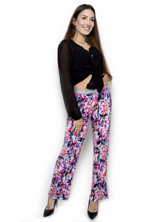Широк дамски панталон с ластик