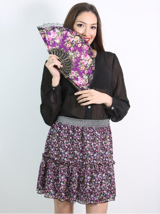 Къса пола с волан на цветя