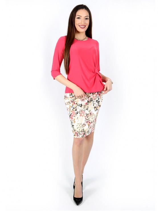 Блуза с ръкав 7/8 и ефектен възел в цвят корал