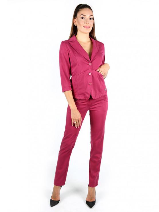 Дамски панталон от тенсел в цвят малина