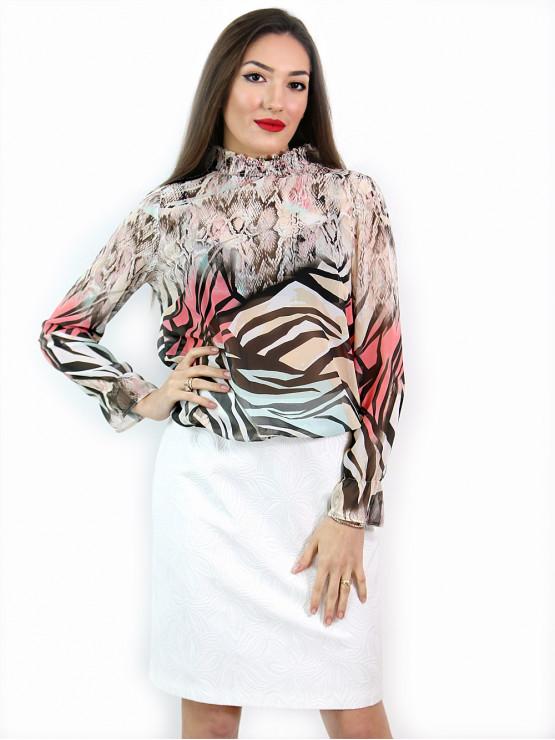 Дамска блуза с дълъг ръкав и ластик в кръста с интересен принт