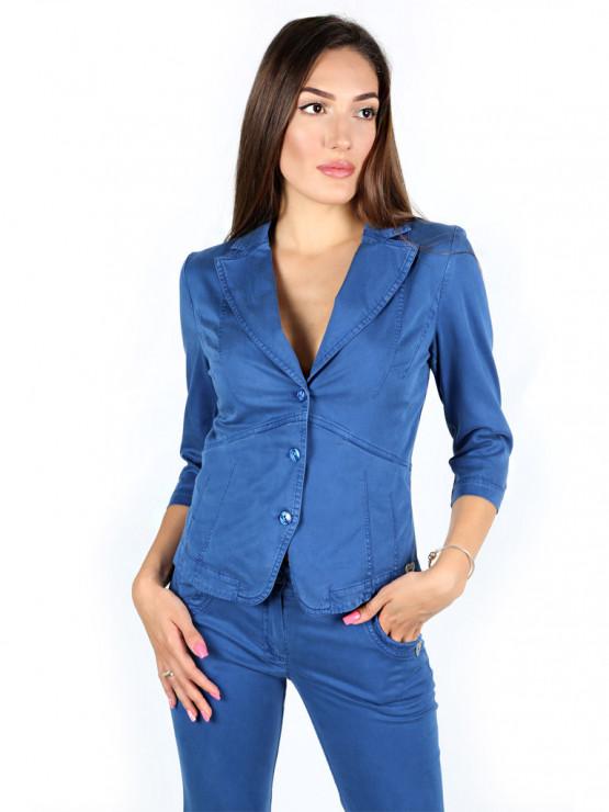 Синьо дамско сако от тенсел