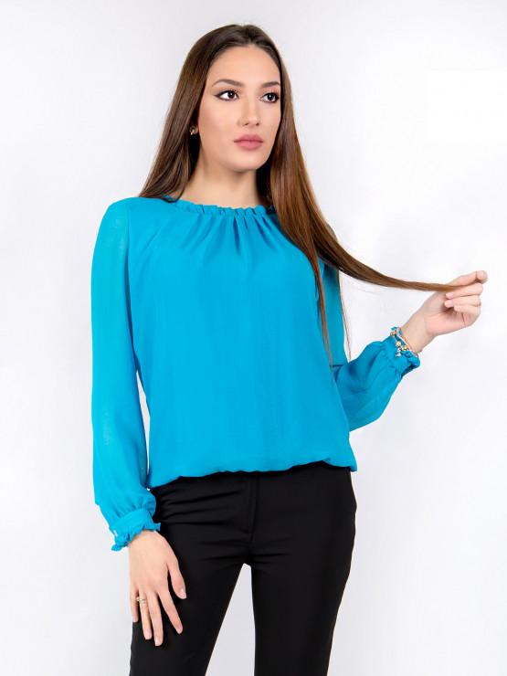 Дамска блуза с дълъг ръкав Азалея шифон в синьо
