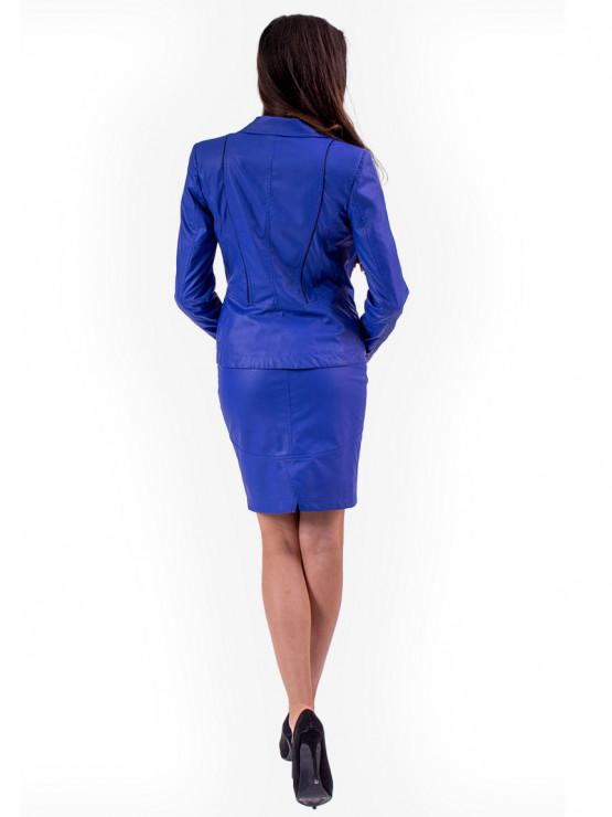 Синьо дамско сако от еко кожа