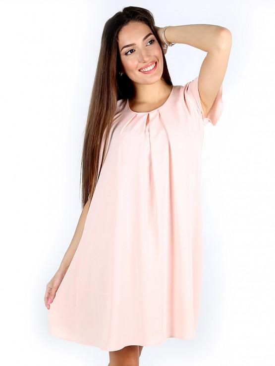 Свободна лятна рокля в цвят банан