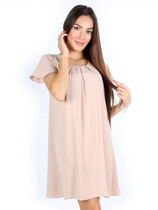 Свободна лятна рокля в цвят капучино