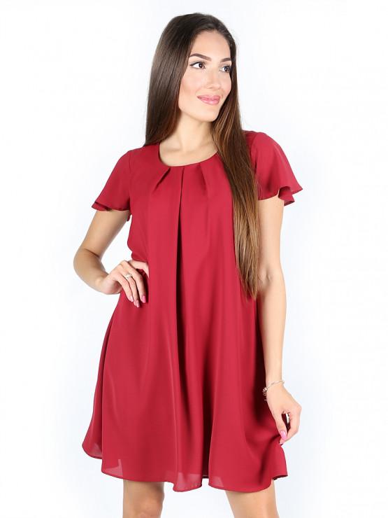 Свободна лятна рокля в цвят бордо