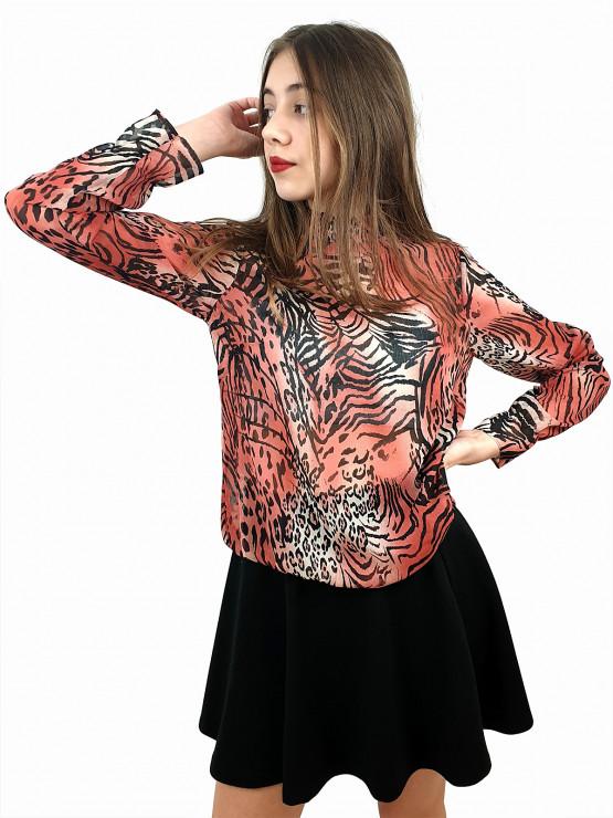 Дамска блуза с дълъг ръкав и ластик в кръста с интересен животински принт